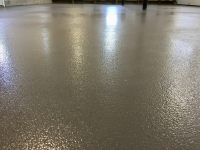 Ghostshield Concrete Sealers - Epoxy 325 Concrete Coating Customer Upload: Ghostshield Urethane 645, Dark Gray, applied over Epoxy 325 Dark Gray with 46 grit oxide casted into base coat/primer.