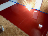 Ghostshield Concrete Sealers - Urethane 645 & Epoxy 325 Concrete Coating Customer Upload: Garage coated with Epoxy 325 Red and Urethane 645 Red