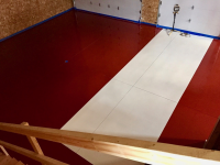 Ghostshield Concrete Sealers - Urethane 645 & Epoxy 325 Concrete Coating Customer Upload: Garage coated with Epoxy 325 Red and Urethane 645 Red, Epoxy 325 White and Urethane 645 White
